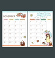 november planner autumn with girl cartoon vector image