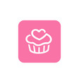 pink cupcake icon square shape icon design vector image vector image