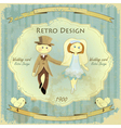 retro wedding card vector image