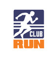 run club logo template emblem with running man vector image vector image