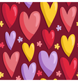 Seamless pattern with hearts and flowers vector image vector image