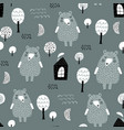 semless woodland pattern with cute bear forest vector image vector image