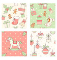 set of seamless christmas patterns in retro style vector image vector image