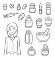 set pharmacist and medicine vector image