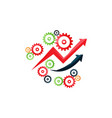 shiny gears and arrows icon vector image vector image