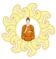 sitting buddha in lotus pose in waves mandala vector image