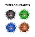 types of hepatitis viruses hepatitis a b c d vector image vector image
