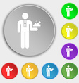Waiter icon sign Symbol on eight flat buttons vector image vector image