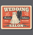 wedding salon bride dress and groom costume rent vector image vector image