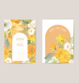 wedding spring floral invitation flowers card vector image