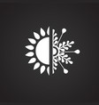 winter sun with flake on black background vector image vector image