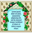 Wooden frame decorated with roses greeting card vector image vector image