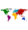World map with colored continents vector image vector image
