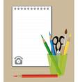notepad and drawing supplies vector image