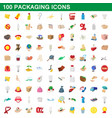 100 packaging icons set cartoon style vector image