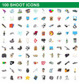 100 shoot icons set cartoon style vector image