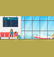 airport waiting room departure lounge with chairs vector image