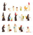 arabs family cartoon icons set vector image vector image