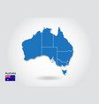 australia map design with 3d style blue australia vector image vector image