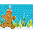 background with Gingerbread man and forest of pine vector image