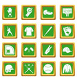 baseball icons set green vector image vector image