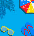 beach background with flip flop palm umbrella vector image