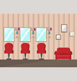 beauty salon interior designbarber shop in flat vector image
