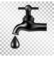 black tap with oil drop on transparent background vector image vector image