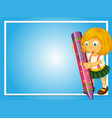 border template with girl and crayon vector image vector image