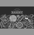 bread and pastry background bakery hand drawn on vector image vector image