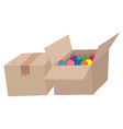 Cardboard boxes full of balls vector image