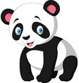 cartoon cute panda isolated on white background vector image vector image
