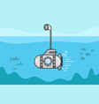 cartoon submarine with the periscope and the vector image vector image