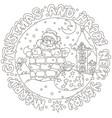 christmas card with santa and gift bag vector image vector image