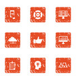 cloud traffic icons set grunge style vector image vector image