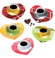 Coffee mugs on scrapbook towels vector image vector image