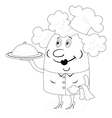 Cook woman with tray contour vector image