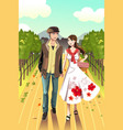 couple walking in a winery vector image