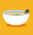 cream soup with mushrooms hot bowl soup dish vector image