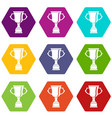 cup for win icon set color hexahedron vector image vector image