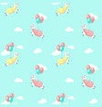 cute alpaca with balloons seamless pattern vector image
