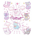 cute cats with kawaii clouds and herts vector image vector image