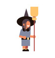 cute girl wear witch costume happy halloween vector image