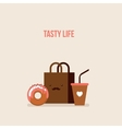 Delicious donut Coffee Shopping bag Online food vector image vector image