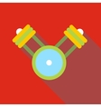 Engine pistons on a crankshaft icon flat style vector image vector image