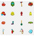 Firefighter set icons vector image vector image