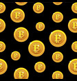 gold bitcoin coins seamless pattern digital vector image vector image