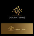 gold plant tree logo vector image vector image