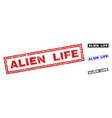 grunge alien life textured rectangle stamp seals vector image vector image