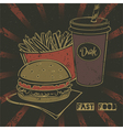 Grunge fast food poster with cheeseburger